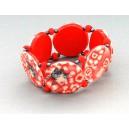 Bracelet perles plates Coraline visage corail
