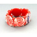 Bracelet perles plates Coraline transparent corail