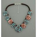 collier perles plates réversible transparent turquoise & marron / visage fleur turquoise & marron