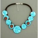 collier perles plates  transparent turquoise