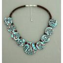 collier perles plates  transparent turquoise & marron