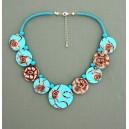 collier perles plates  fond turquoise moyen & pm marron