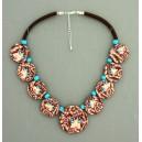 collier perles plates  visage fleur turquoise & marron