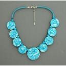 collier perles plates réversible transparent turquoise / visage fleur turquoise