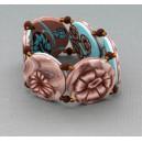 bracelet perles plates réversible transparent marron / fond turquoise clair fleur marron