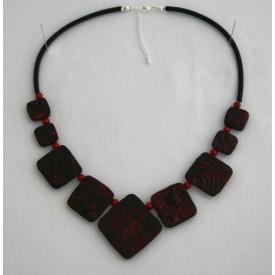 Collier perles structurés Ingrid rouge