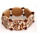 Bracelet perles plates Brune jeu de transparence, fleurs brune