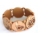 Bracelet perles plates Brune fond beige fleur brune