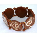 Bracelet perles plates Brune fond brun fleur brune