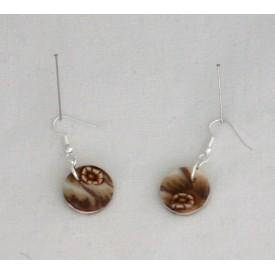 Boucles d'oreille Brune jeu de transparence, fleurs brune petit modèle
