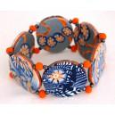 bracelet perles plates Maïlys réversible transparence, fleurs orange /fond gris fleur orange