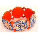bracelet perles plates Maïlys  jeu de transparence, fleurs orange