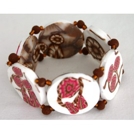 bracelet perles plates Brune réversible fond blanc fleur rose / transparence, fleurs brune