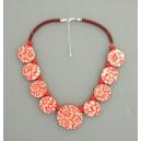 Collier perles plates Coraline fleur corail