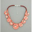 Collier perles plates Coraline visage corail